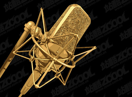 Golden Microphone vector material