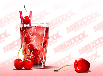 Cherry cold drink tastes vector material