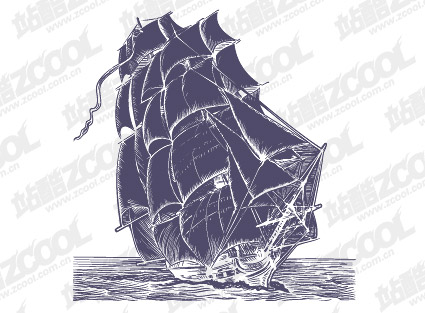 Pen painting style sailing vector material