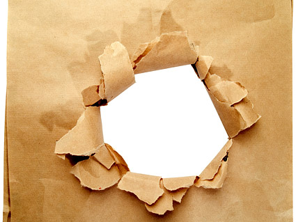 Hole in the paper picture material