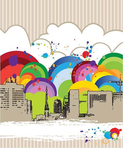 The trend of colorful illustrations city
