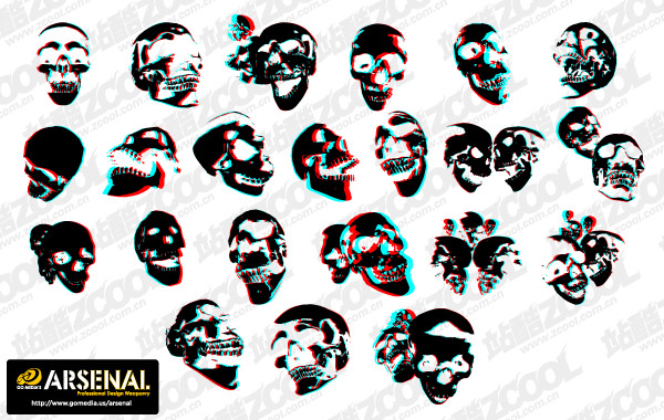 Go Media production trend vector material Set13-3D skull