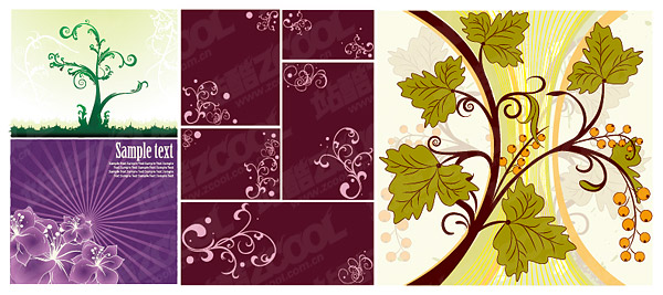 flower patterns of plant material vector