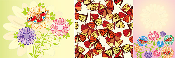Moth and the lovely flowers vector material