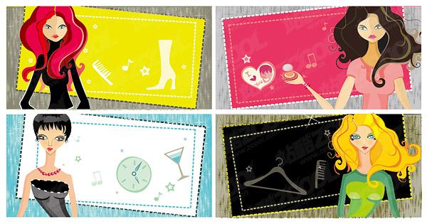 Female fashion theme of the card templates