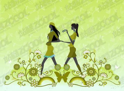 Vector material girl friendship