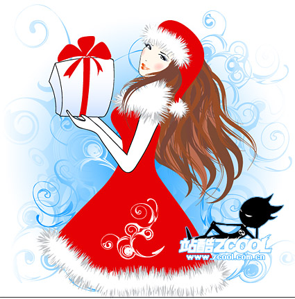 Christmas vector material girl