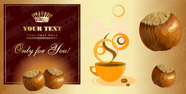 Chestnut and coffee theme vector material