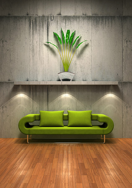 Green sofa with the old wall picture material