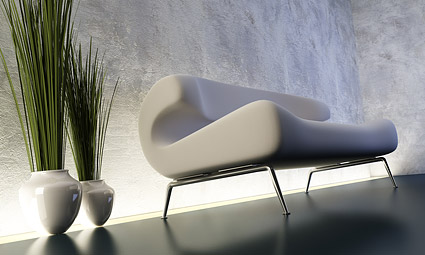 Sofa 3D display picture and plant material