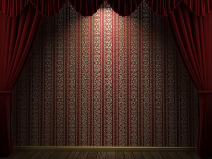 Continental patterns of red curtain and the wall picture material