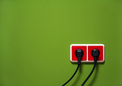 Red green wall socket picture material