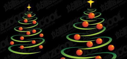 Sphere composed of lines and Christmas tree vector material