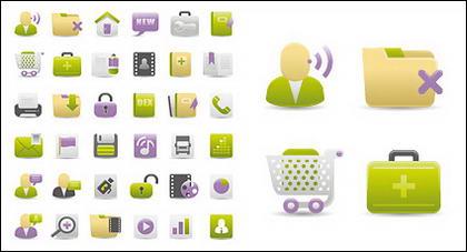 Web Design Gray Green Purple icon vector material
