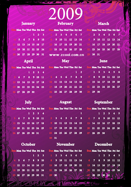 2009 calendar pattern vector material