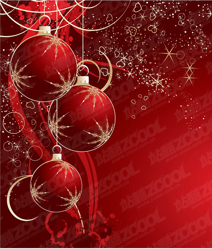 Red for Christmas decoration balls vector material