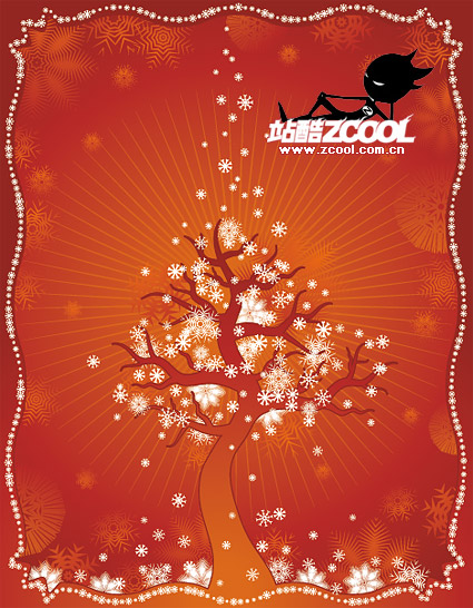 Winter trees and snow vector material
