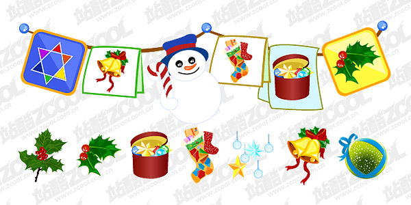 Practical Christmas decorations design vector material