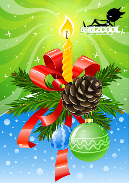 Beautifully decorated Christmas vector material