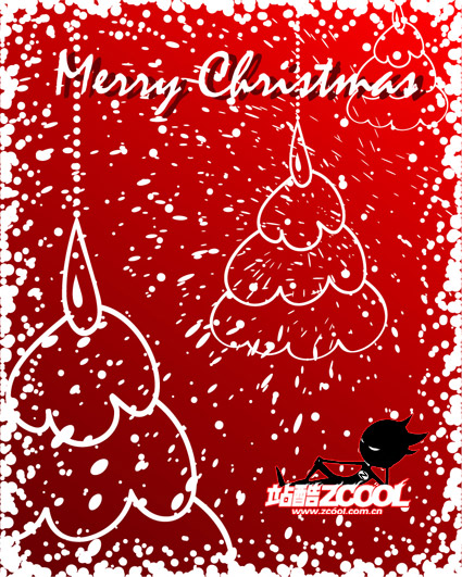 Snow graffiti-style Christmas tree vector material