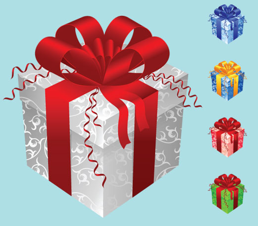 Color gift packaging vector material