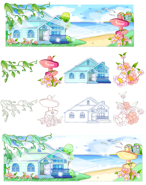 Hand-painted style, summer style series of vector -2
