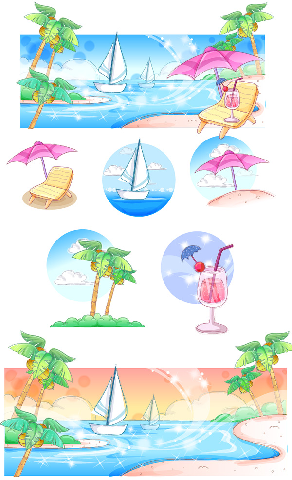 Hand-painted style, summer style series of vector -3