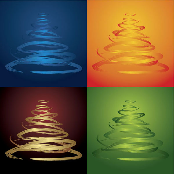Four-color Christmas tree vector material