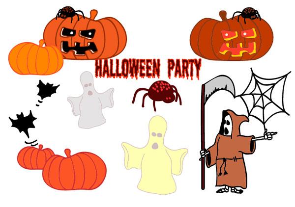 Halloween, ghosts, pumpkins, spiders, bats