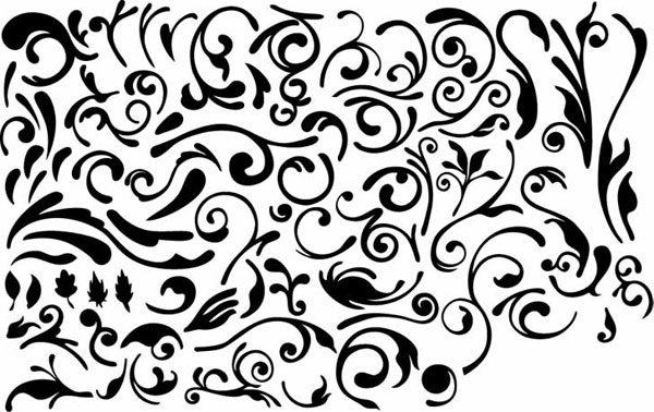 Series of black and white design elements vector material -4 (simple pattern)