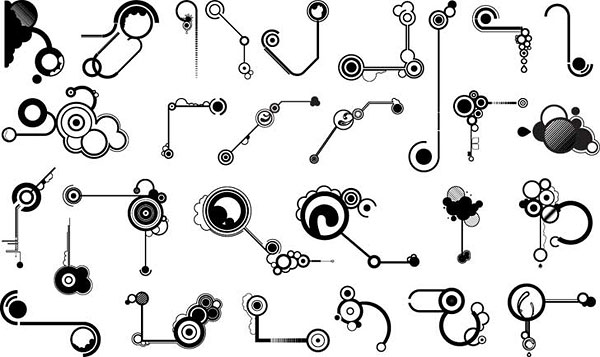 Series of black and white design elements vector material -11 (line shape)