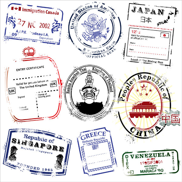 Several countries postmark vector material