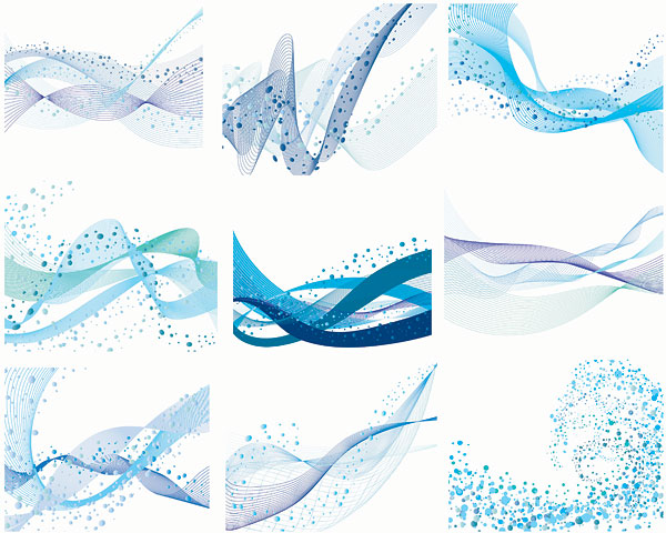Waves, lines, wavy lines vector material