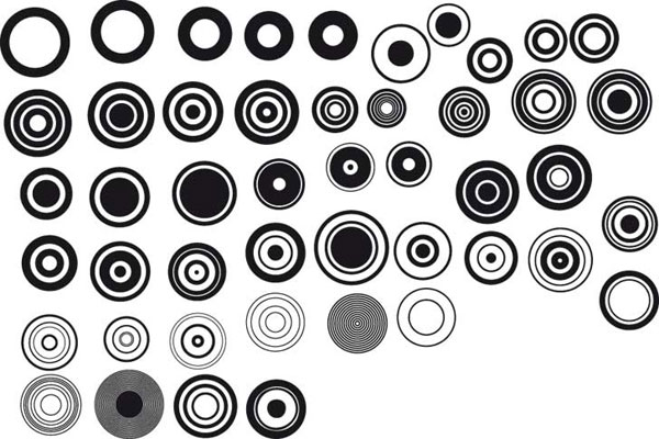 Series of black and white design elements vector material -1 (Simple Round)