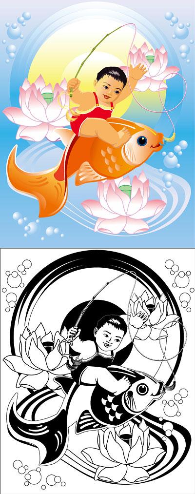 Paintings, lotus, fish, goldfish vector