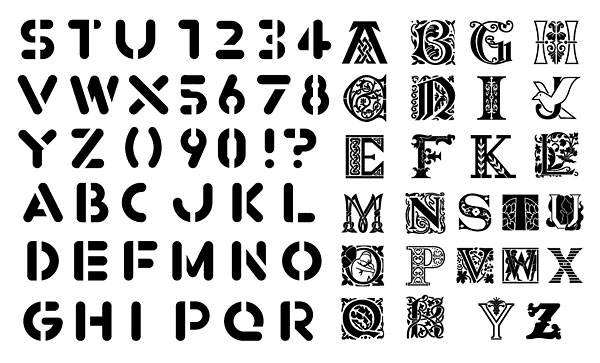 English letters, numbers vector material