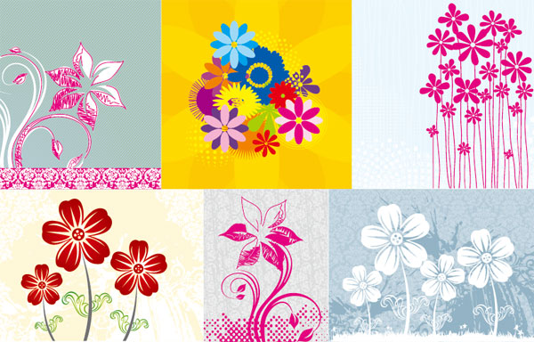 Hand-painted flowers Vector