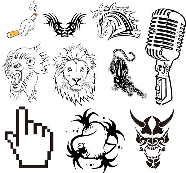 Totem, tattoos, cigarettes, horse, lionhead, leopard vector
