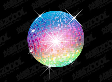 Lights disco ball vector material