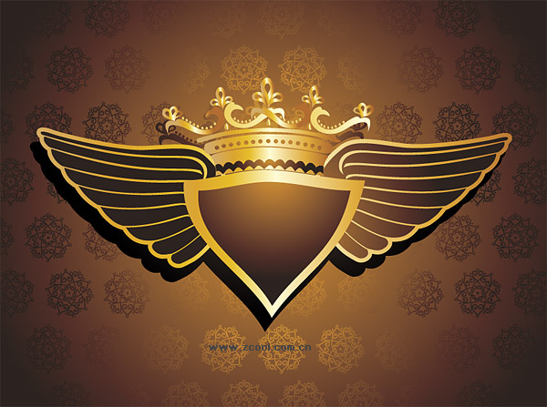 Crown patterns wings vector background material
