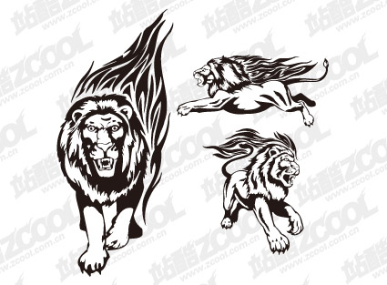 Tiger lion flame totem vector material-2