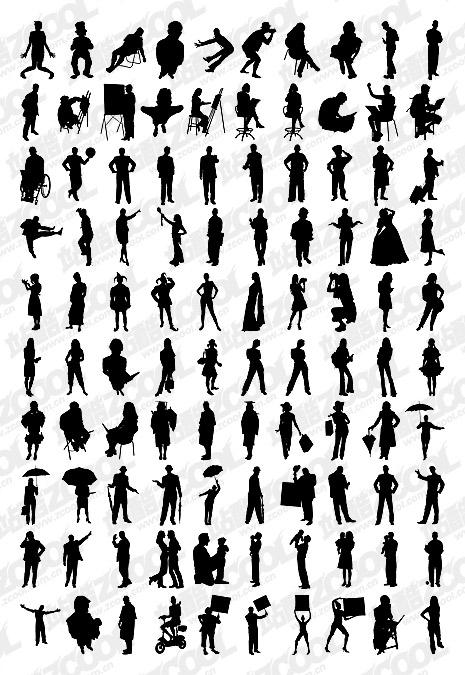 1000 album various silhouette vector material-5