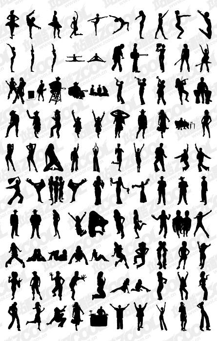 1000 album various silhouette vector material-3