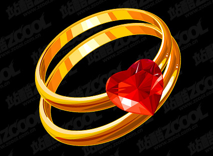 Heart-shaped diamond gold ring vector material