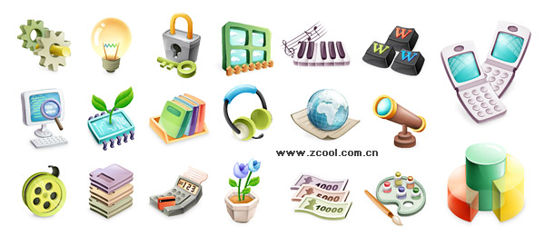 Cute exquisite three-dimensional icon vector material-2