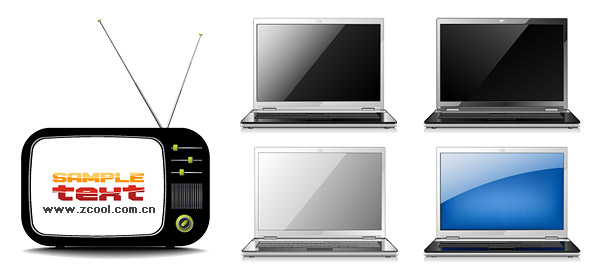 TV with laptop vector material