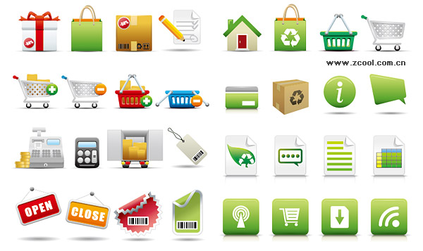 exquisite shopping category icon vector material