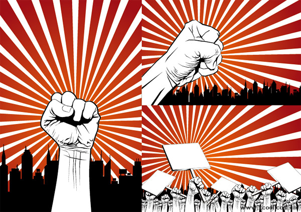 Fists protest Series Vector material