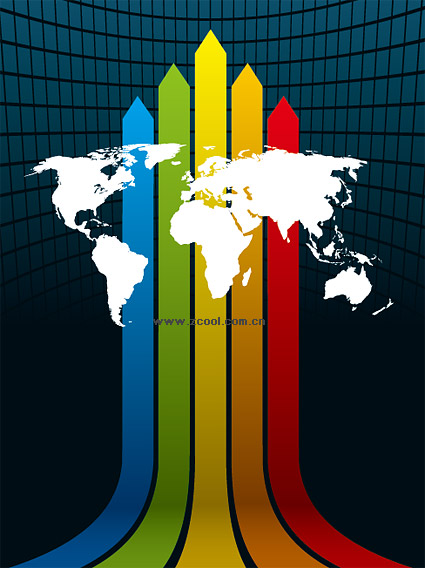 Spaces rainbow background material line vector map of the world