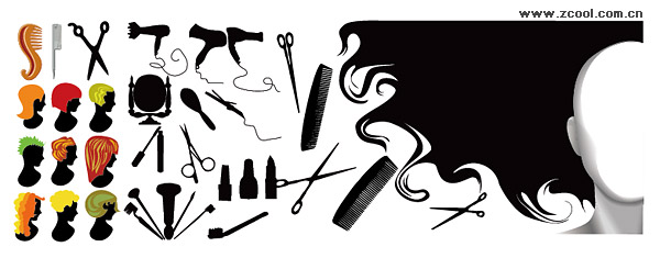 Hairdressing series element vector material
